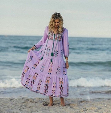 Bohemian Floral Embroidered Maxi DressVintage Boho Chic Beach Style Dresses Vestidos