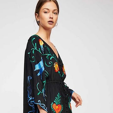 Maxi Long Dress New Flower Embroidery V-neck Autumn Dress Flare Sleeve  Chic Boho Robes