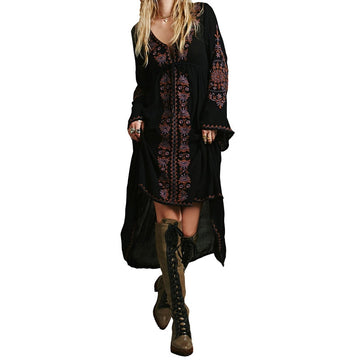Fall Embroidery Loose Boho Long Dress Full Sleeve Hippie Bohemian V-neck High Waist Dress