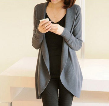 Long Sleeve Knitted Sweater Casual Solid Scarf Collar Cardigans Sweaters