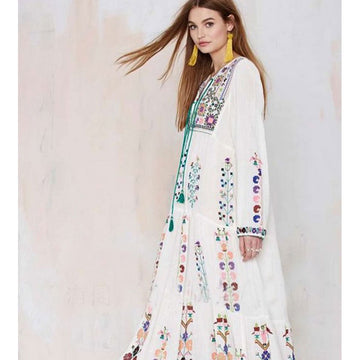 Boho Dresses Flower Embroidery White Loose Maxi Long Chic Beach Dress Vestido