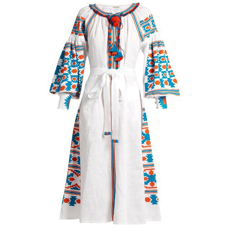 Embroidery White Women's Dress Boho Holiday  Flare Sleeve Chic Hippie Long Dresses
