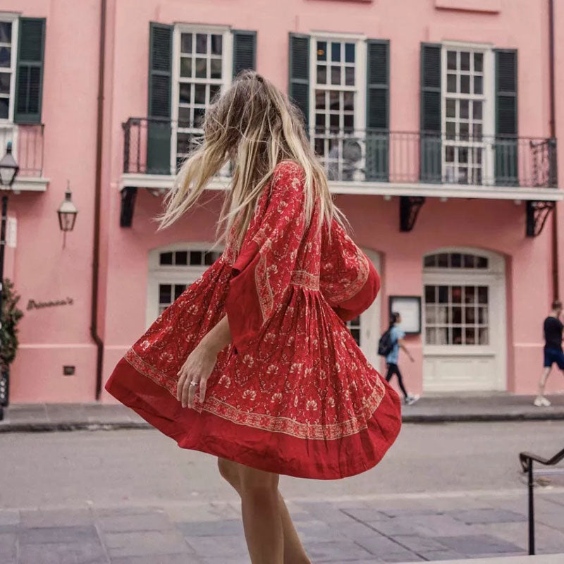 Holiday Dress New Boho Style Stitching Printing Dresses O-neck A-line mini Dress