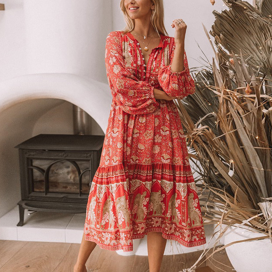 Boho dress sexy V-neck long sleeve red floral print rayon  loose Gypsy dresses beach wear chic vestido