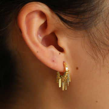 Gold color jewelry earring tassel charm mini arround ear hoop Huggie