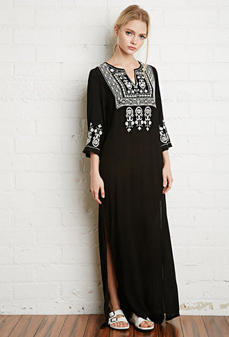 Embroidered maxi long dress bohemian style fall long dress floral pattern black long
