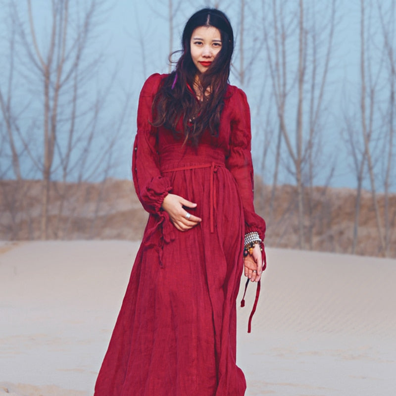 Autumn Bohemian  Long Sleeve Vintage Hippie Maxi Dress Boho Chic Gypsy Folk Party Beach Long Dresses