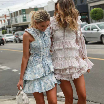 Boho Chic Elegant Cascading Ruffle Flare Sleeve Printed Mini Dress Pure Silk Dresses