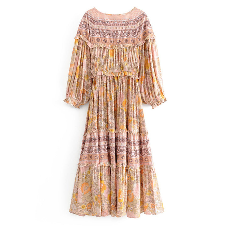 Boho Chic Frill Long Sleeve Floral Print Gypsy Casual Beach Dresses