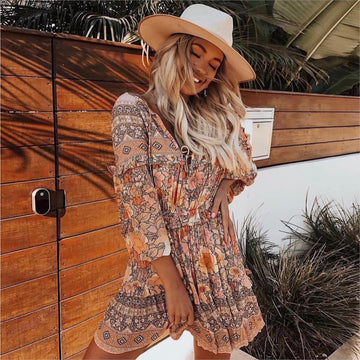 Frill Ruffle Boho Dress Gypsy Print Mini Dresses V-Neck Long Sleeve Beach Playdress