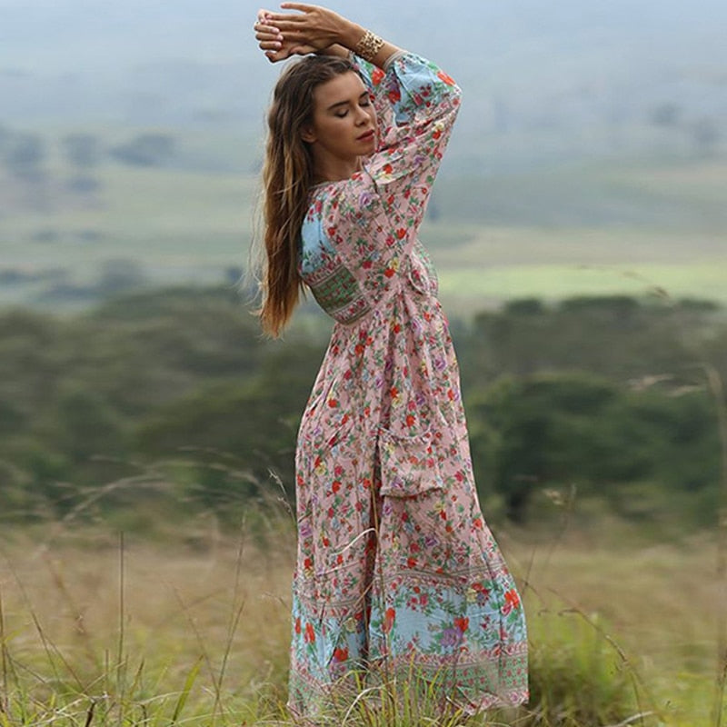 Bohemian Boho Chic  Maxi Dress V-Neck