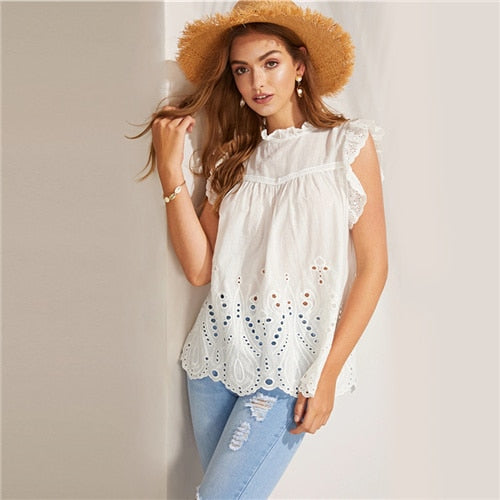 White Solid Circle Cut Insert Scalloped Ruffle Tops And Blouses Summer Boho Cap Sleeve
