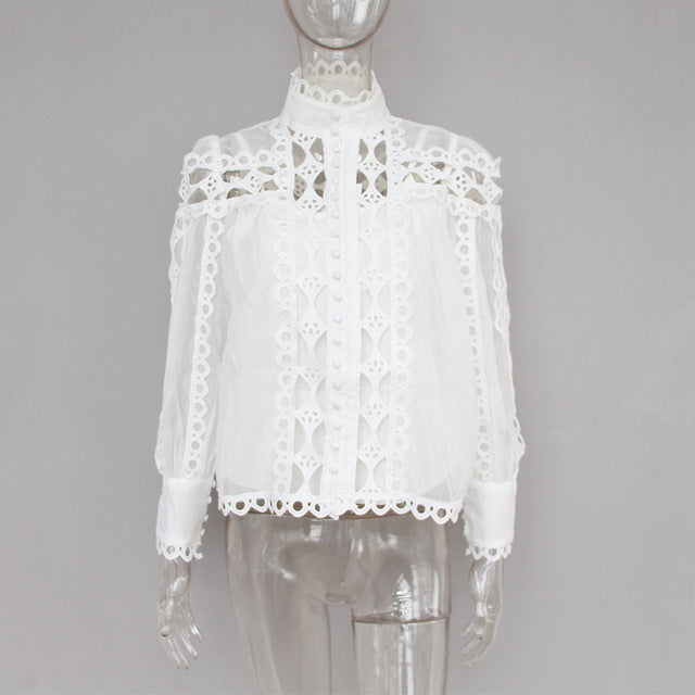 Runway Boho Chic Vintage Lantern Sleeve Hollow Out Blouses Shirt