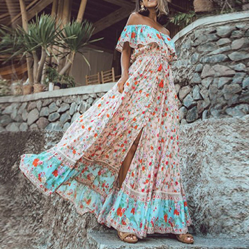 Vintage Ruffle Slash Neck Women Maxi Dress Elegant Floral Print Boho Chic A-Line Dresses Casual Loose Big Swing Split Vestidos