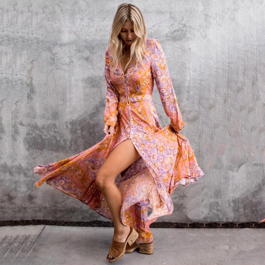 Floral Print V-Neck Long Sleeve Fall Pink Autumn Boho Dresses Bohemian Maxi Robe