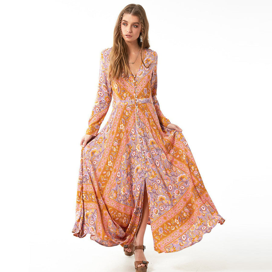 Floral Print V-Neck Long Sleeve Women Dresses Boho Maxi Robe Martha