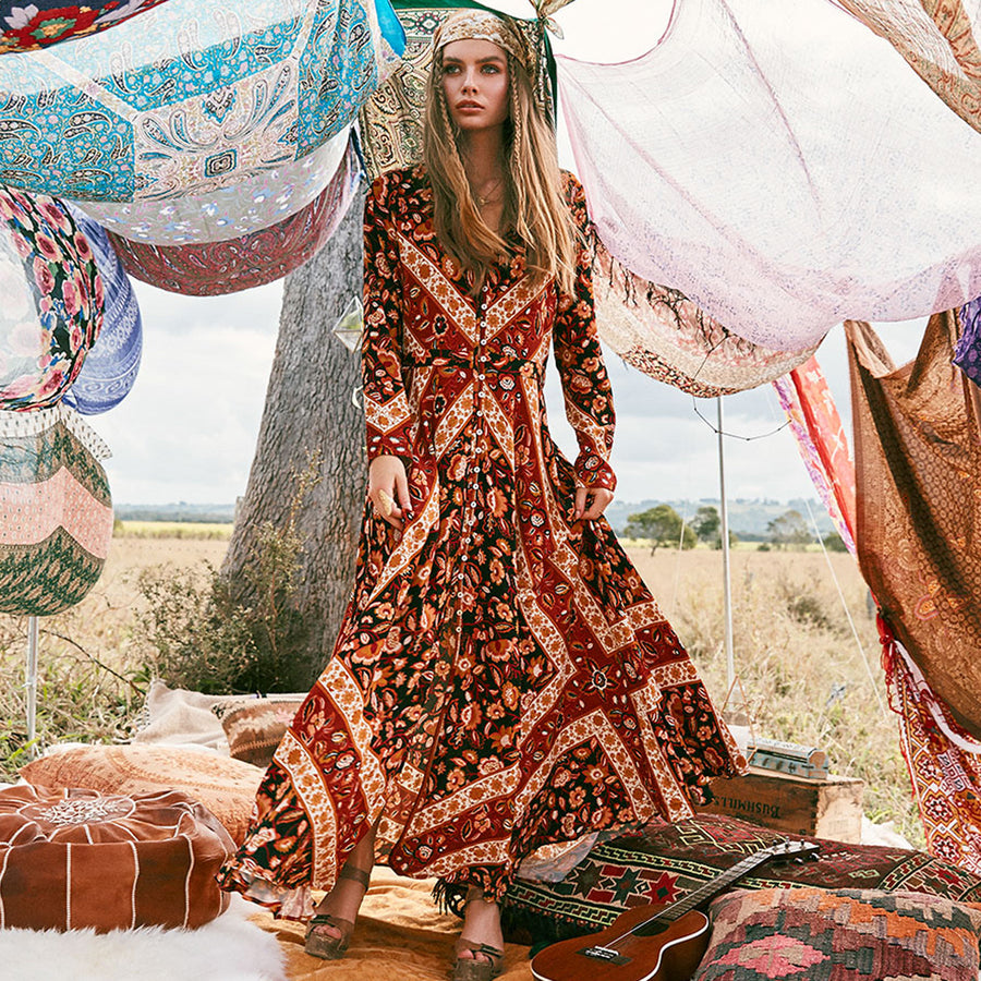 Floral Print V-Neck Long Sleeve Fall Autumn Boho Dresses Bohemian Maxi Robe