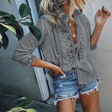 Blouse Long Sleeve Lace Hollow Tops Ladies Casual Solid Patchwork Loose V-Neck Boho Shirt