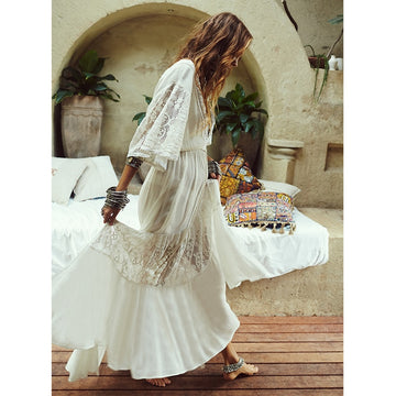 Lace Maxi Dress Half Sleeve Loose Sexy White Long Dress