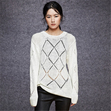 Hand made pure cotton hollow out knitO-neck thin loose pullover sweater