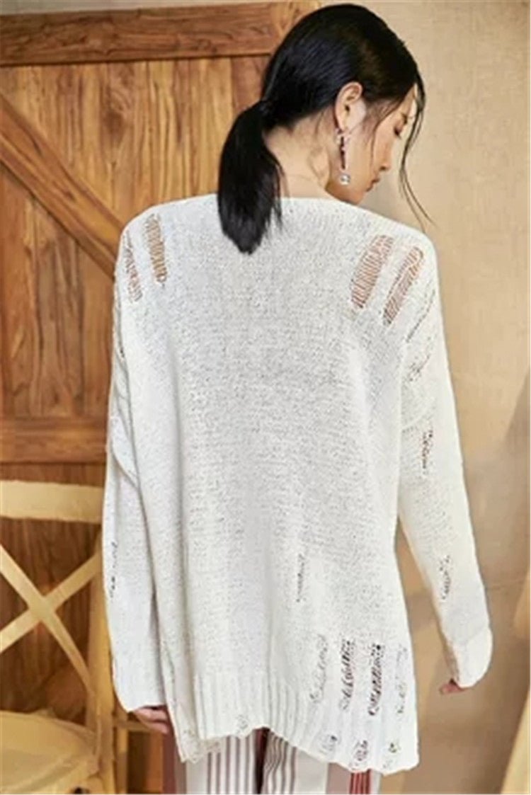 Hand made pure cotton Oneck knit women hollow out open hem thin pullover sweater