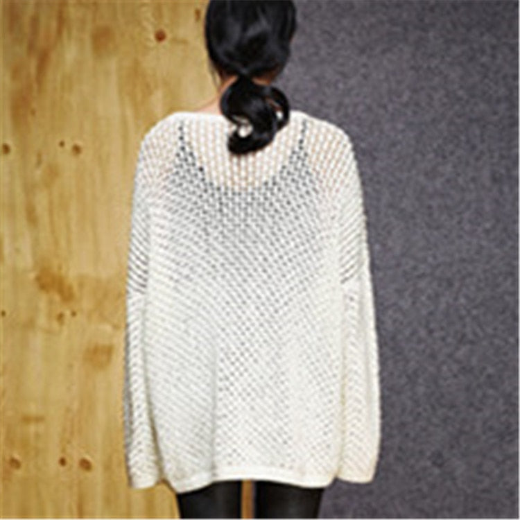 Hand made pure cotton O-neck thin knit women loose pullover sweater