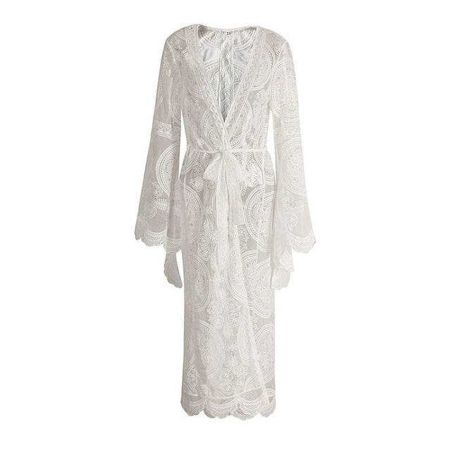 Bohemian White Lace Long Kimono Cardigan Boho Blouses Outwear Cover