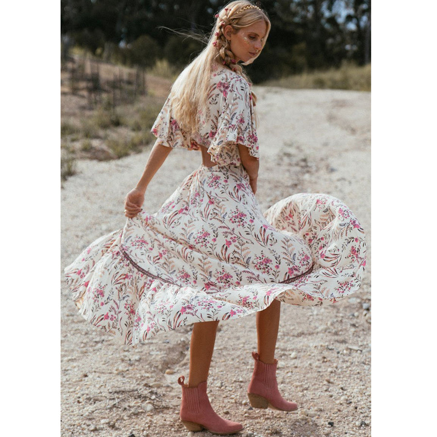 Boho Chic High-Low Hem Midi Dress Gypsy Floral Print Dresses Flounce Sleeve Hollow Back Sexy
