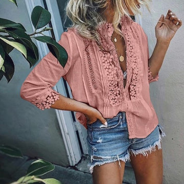 Women Blouse Shirt Beach Long Sleeve Lace Tops And Blouses Boho