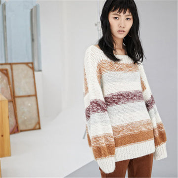 Hand made wool slash neck thick knit Sweater Quinn
