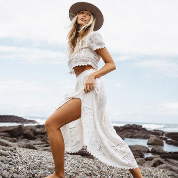 Patchwork lace Crop Top+Lace Tie Side Skirt Suit Boho Chic Beach Two Piece Suit Set Summer Dress