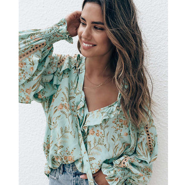Floral Print Blouse V-Neck Ruffle Sleeve Boho Shirt Top Casual Beach Summer Tops