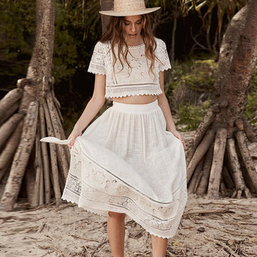 Boho dress white floral Embroidery abigail lace tie Split side 2pcs women Dresses beach Gypsy Vestidos
