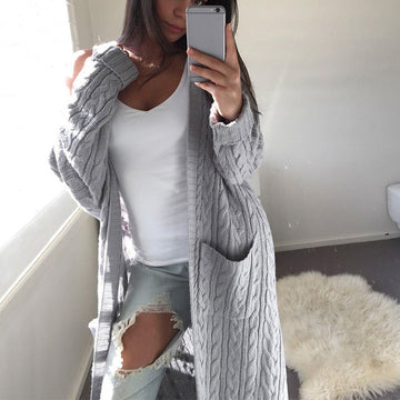 Open Front Cardigan Sweaters Long Sleeve Elegant Pocket Knitted