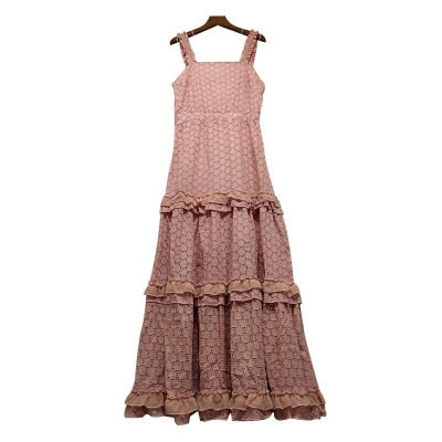Boho Chic Lace Spaghetti Strap Pleated Dress Long Cotton