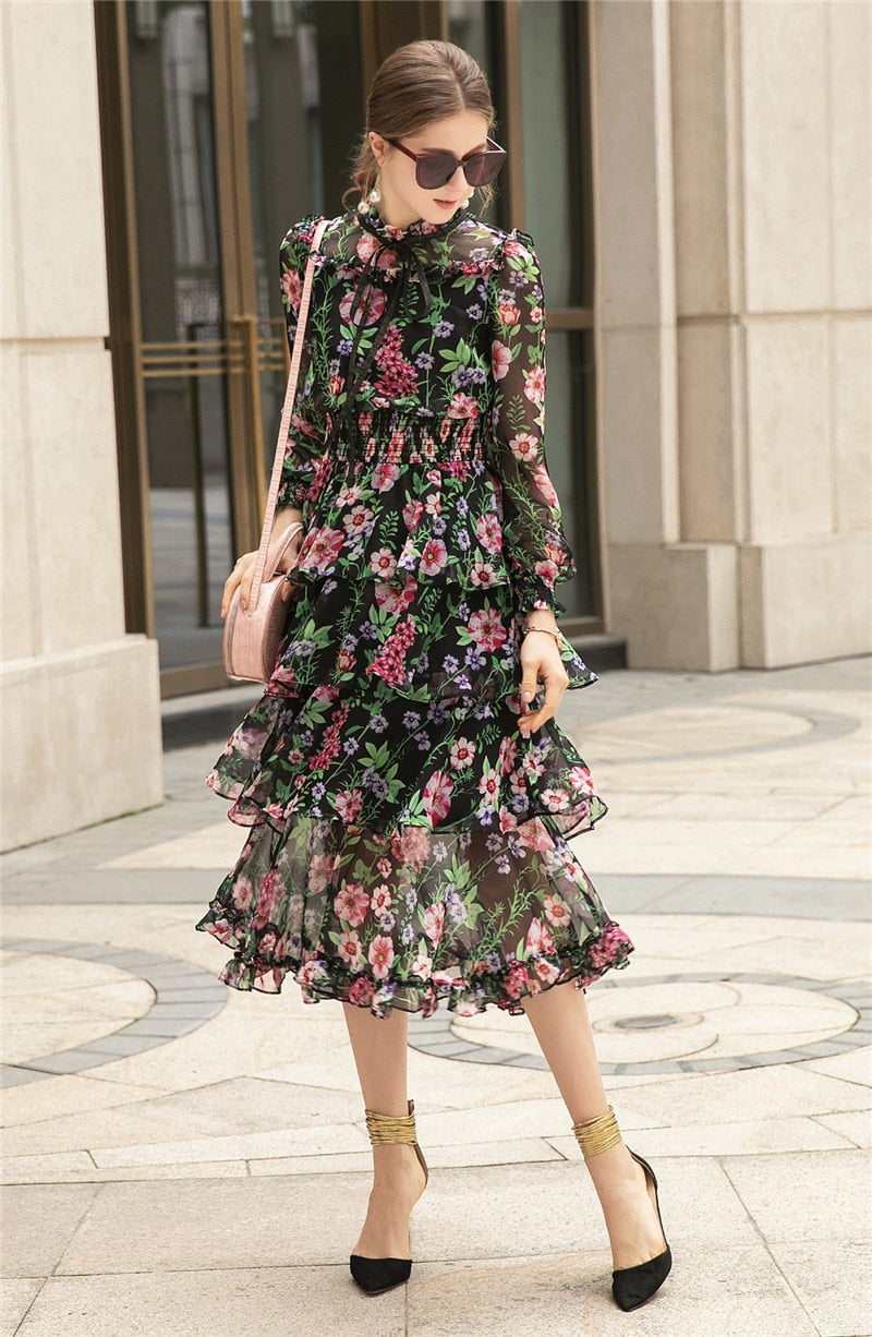 Party Boho Beach Sexy Vintage Elegant Chic Chiffon Print Ruffles Midi Dress
