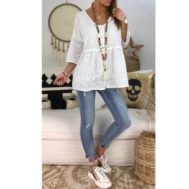 Cotton Loose Blouse Tops Boho  V-Neck Shirt