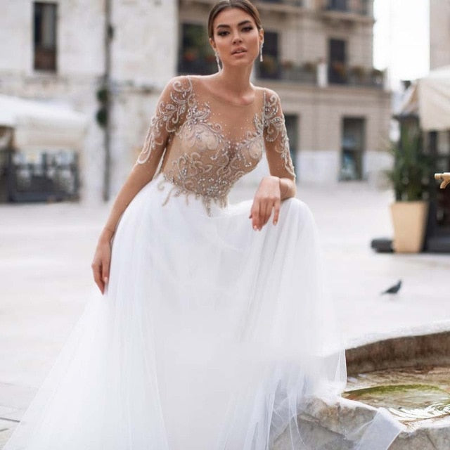 Boho-inspired Wedding Dresses See Through Casual Tulle Beaded Chic Lace Beach Bridal