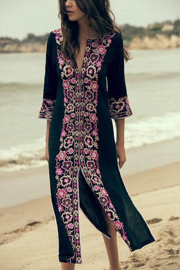 Floral Embroidered Midi Dress Classic Tunic Kaftan Dress Boho Chic