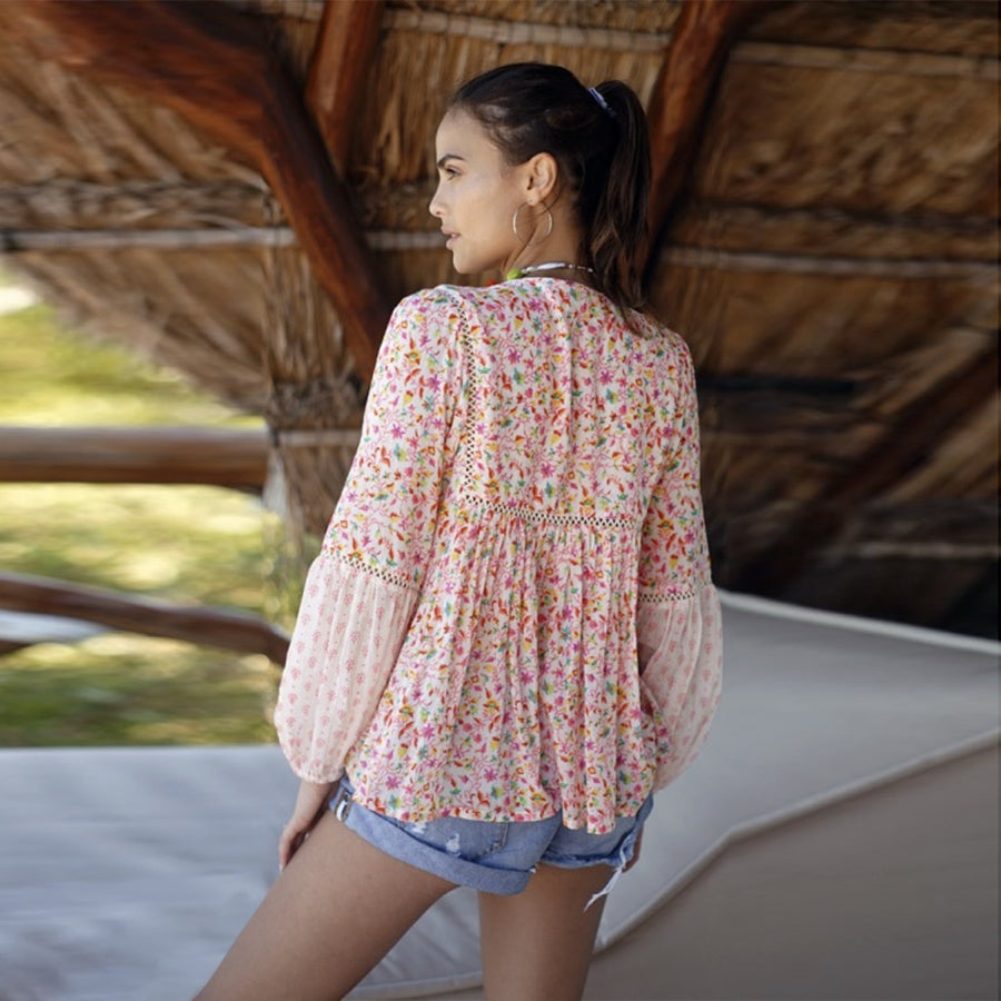 Bohemian Tops Summer Ethnic Floral Tassel Long Sleeve Casual Blouse Boho Clothing Blusas