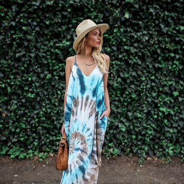 Boho Printed Long Party Women Dress Casual V Neck Backless Hippy Chic Tie Dye Beach Vestido