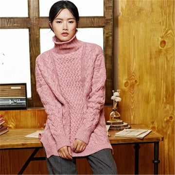 Hand made pure cashmere twist knit turtleneck solid open hem pullover sweater Lena