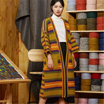 Hand made pure wool Vneck knit contrast color striped solid loose long cardigan sweater
