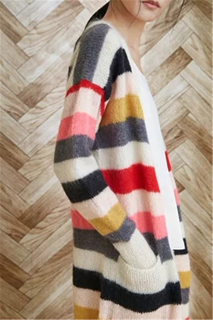 Hand made wool knit  Vneck striped long cardigan sweater