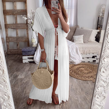 Summer Boho White Long Blouse Holiday Beach Cover Up Pleated Kimono Cardigan Top