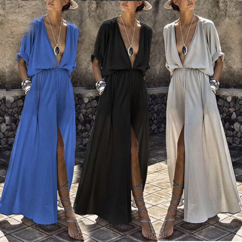 Elegant Deep V-Neck Long Maxi Dress Plus Size Beach Dresse Vintage High Split Boho Vestidos