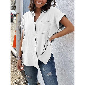 Short Sleeve Solid Casual Loose Linen Shirt Boho Style Blouse With Pocket SJ2763M