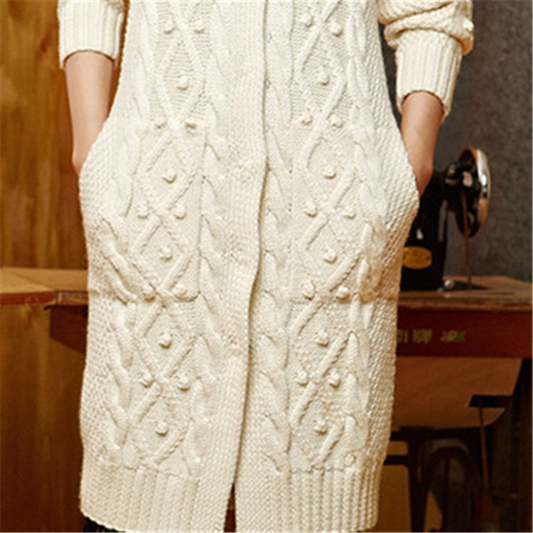Hand made wool Oneck knit solid loose long single breasted cardigan sweater