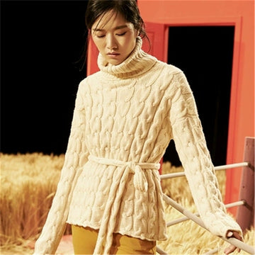 Hand made pure wool twist knit  turtleneck solid H-straight belt pullover sweater Abby