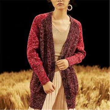 Hand made pure wool Vneck knit women fashion printed long slim single breasted cardigan sweater